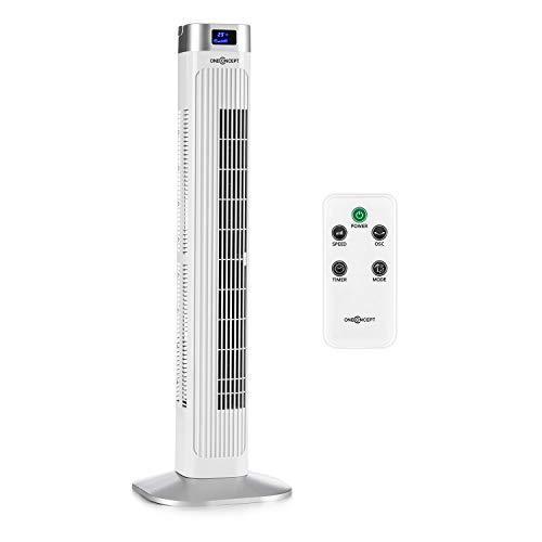oneConcept Hightower 2G - Säulenventilator Standventilator Turmventilator, Energiesparender Dauerbetrieb: 42 W, Oszillation 45°, Luftdurchsatz: 1.807 m³/h, 12-h-Abschalt-Timer, 3 Betriebsmodi, weiß