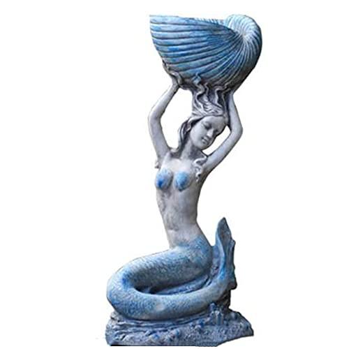 HQL Estatua Grande de Sirena, exhibición de estatuilla de Sirena de Piedra Artificial, decoración de Hadas de Sirena de jardín de Estilo mediterráneo, para Playa y Piscina,Holding a Conch