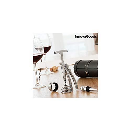 InnovaGoods Screwpull Set de Accesorios para Vino con Sacacorchos, Aleación de Zinc, Plateado, 19x8x8 cm