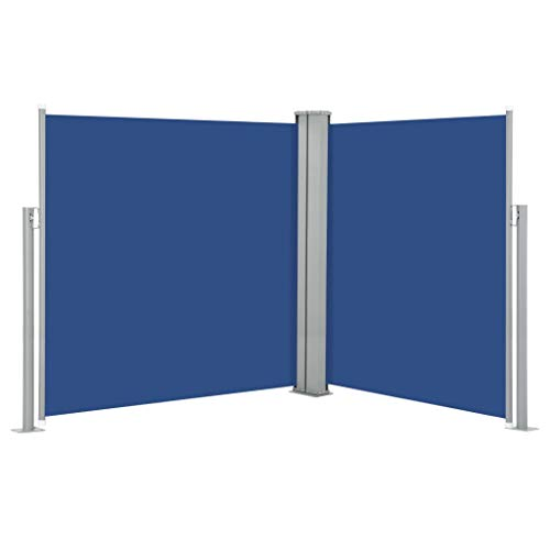 vidaXL Seitenmarkise Ausziehbar Sichtschutz Sonnenschutz Windschutz Seitenrollo Seitenwandmarkise Markise Terrasse Balkon Garten Blau 140x600cm
