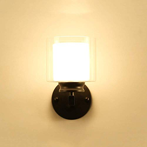 Lámpara de Pared, Lámpara de Pared de Dormitorio Negro Plata Nórdica Lámpara de Noche Minimalista Moderna Pantalla de Cristal Lámpara de Hierro Forjado Ancho 14cm Alto 2