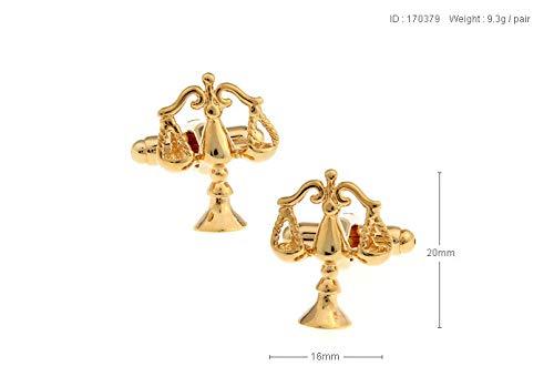 ESCYQ Manschettenknöpfe,Unisex Manschettenknöpfe Waage Einfach Glänzend Metallic Gold Manschettenknöpfe Hülse Nagel Business Bräutigam Anzug Hemd Hochzeit Zubehör