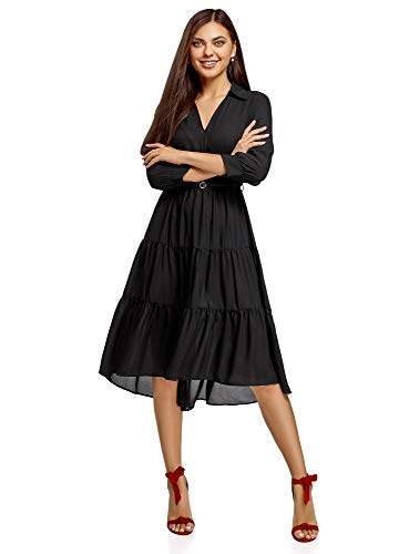 oodji Ultra Damen Midi-Kleid mit Gürtel, Schwarz, DE 36 / EU 38 / S