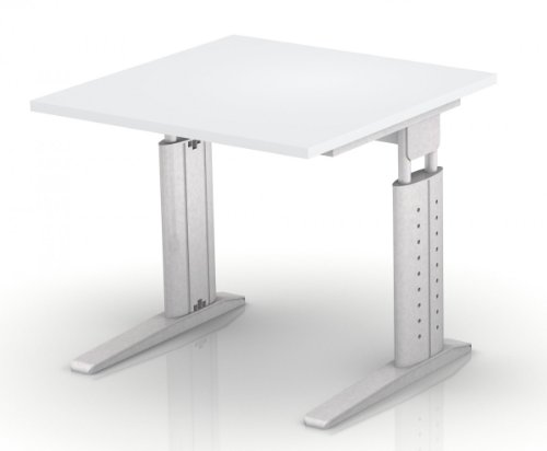 Schreibtisch Hammerbach US08 quadratisch 80 cm höhenverstellbar, Dekor wählbar, Dekor:Grau