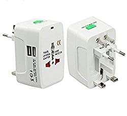 Omnipotent Universal Adapter Worldwide Travel Adapter with Built in Dual USB Charger Ports (White)