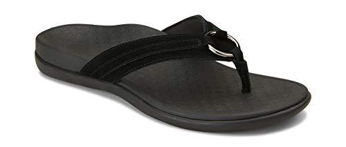 Vionic Women's, Tide Aloe Toe Post Sandal Black Suede 9 M