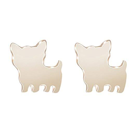 Youkeshan Pendientes de perro de plata u oro, aretes de cachorro, aretes de perro pequeño, pequeños pernos de perro, aretes para mascotas