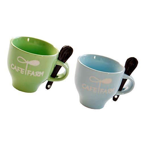 FLAMEER Tazas de Té Y Café de Cerámica de 2 Piezas, Tazas de Café Expreso con Cuchara, 4 Oz, Verde, Azul