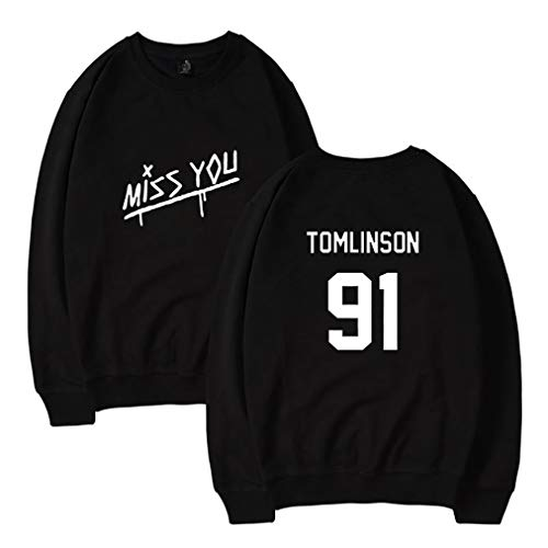 Zhao Li Männer Herren Pullover Mit Rundhalsausschnitt Hoodie Hoodies Hoody Louis Tomlinson 91 One Direction Sweatshirt Pullover Trainingsanzug Sweat Tops Mit Kapuze (Color : Black 2, Größe : XS)