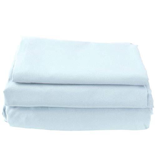 Juego de sábanas de microfibra suave cepillada, tamaño grande, 1800 hilos, color azul claro y resistente a la decoloración.