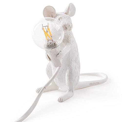 SODIAL Moderna Resina Mouse Lampada Da Tavolo un LED Rat Table Lamp Desk Kids'Gift Room Decor LED Night Lights UE Plug Seduto Rat