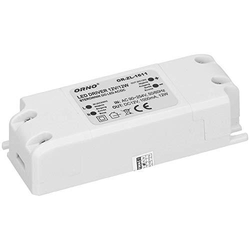 Orno Transformateur 12v (90VAC-254VAC à 12VDC) pour G4 MR11 MR16 GU5.3 LED Ampoules ou bandes de LED (6W-50W), IP20 (12W)