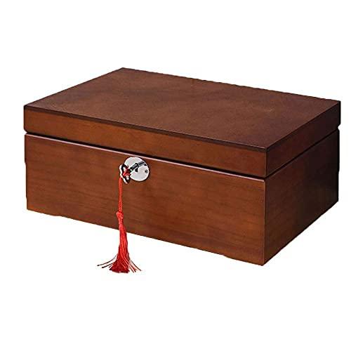 Bella Caja de almacenamiento de joyería organizador caja de joyería de madera caja de anillos de caja doble de alta capacidad con cerradura y espejo caja de almacenamiento de gamuza para anillo reloj
