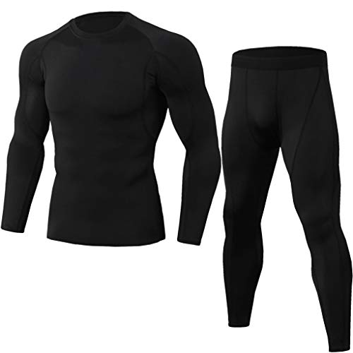 Compression Suits for Men, Workout Sets Fitness Sports Yoga Tights Gym Training Long Sleeve Shirts+Leggings by Leegor Black