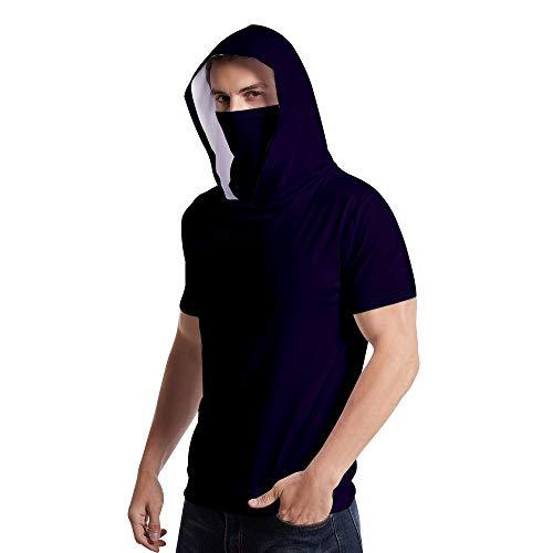 Rugby clothing boutique Q Atmungsaktiv T-Shirt + M-a-sk kurzärmelige Kapuze, Sport-Shirt, Built-in staubdicht Sonnenschutz M-a-sk, Männer und Frauen (Color : Black Blue, Size : 4XL)
