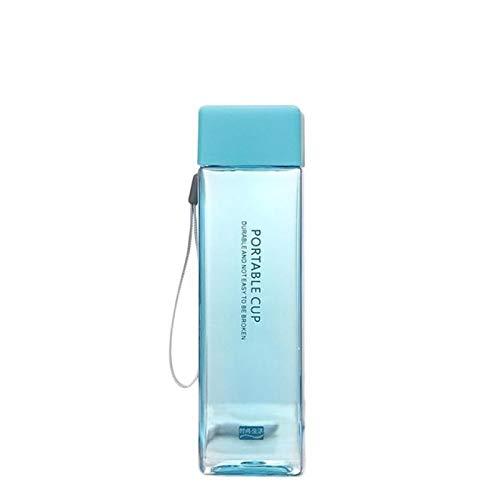 Botellas de agua 6 colores Taza cuadrada transparente Jugo frío Taza para deportes acuáticos con cuerda de leche portátil Taza de agua deportiva Botellas de agua