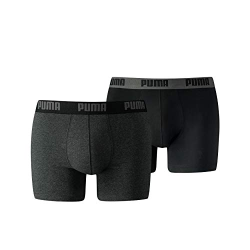 Puma Basic Boxer 2P Homme, Gris (Dark Grey Mélange/ Black 691) Medium (Taille fabricant:020) (Lot de 2)