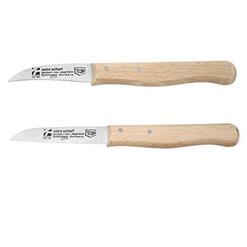 Messer-Set 2-teilig mit Holzgriff (2 Küchenmesser, Schälmesser, Edelstahl-Messerklinge, Kartoffelschälmesser)