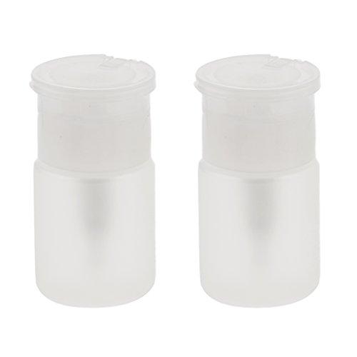 Fenteer Kit 2 x 60ml Distributeur de Pompage Bouteille à Pompe en Plastique Transparent à Dissolvant Vernis à Ongles - 82x40 mm
