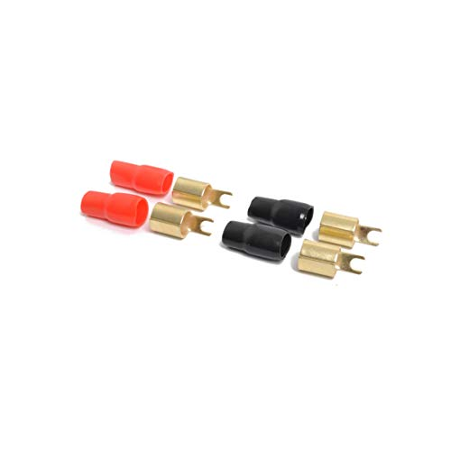 VOSAREA 2 Pairs Connectors Adapters Crimp Barrier Spades Copper Gold Plated 0 Gauge Spade Terminal Crimp for Speaker Wire Cable Terminal Plug- 0GA (Red and Black)