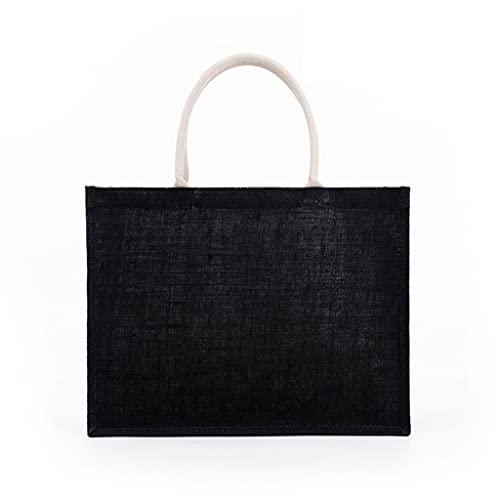 ZZALLL Bolso de Mano de arpillera para Mujer de Moda Bolsos de Embrague en Blanco Bolso de Compras con asa Superior Informal de Gran Capacidad para Bordado de Bricolaje - Oscuro
