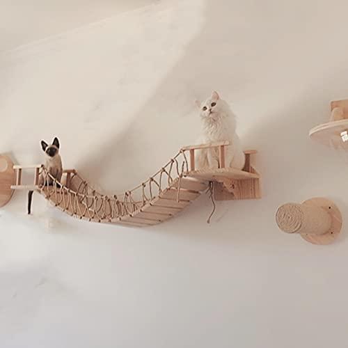 Felivecal Kratzbaum zur Wandmontage, mit Kletterstufenablagen, Massivholz, gerader Stab, Hängebrücke, Katzen-Sitzstange, Spielturm, Katzenmöbel