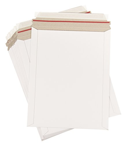 Rigid Mailers - 25-Pack Stay Flat Photo Document Mailers, Self-Seal Paperboard Envelope Mailers for Photos, Pictures, Documents, No Bend, White, 9 3/4 x 12 1/4 inches