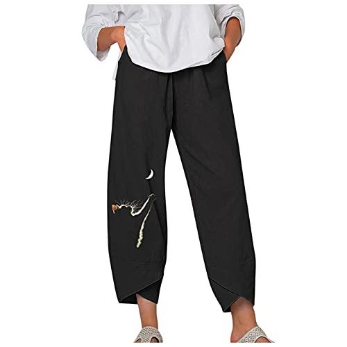 VCAOKF Pantalones sueltos para mujer, divertidos, para verano, sueltos, de algodón y lino, con pernera ancha, corte suelto, con pequeño bordado para hacer yoga o la playa Negro XL