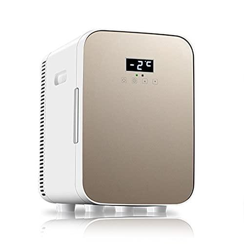 WWDKF Nevera Pequeña, Mini Refrigerador con Puerta De Vidrio Templado con Pantalla Digital De Tres Núcleos De 13.5L, Uso Dual Frío/Caliente, Uso Dual Hogar/Automóvil,Oro