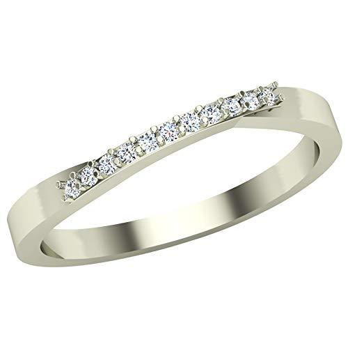 Anillo de diamantes de 14 quilates con certificación IGI/IGLI de 0,04 quilates (color HI, claridad I1-I2) para mujeres y niñas de Dishis Designer Jewellery 6.5