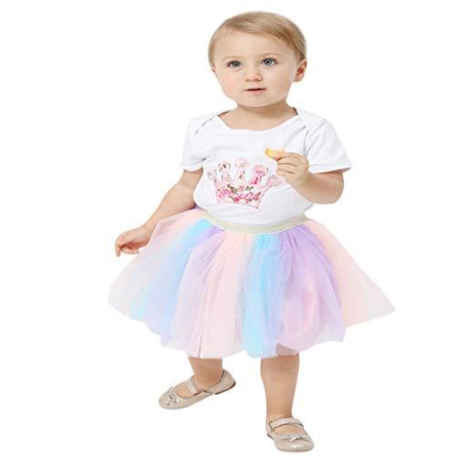 Efanhouy Petite Fille Casual Dentelle Moelleux Robe Top T-Shirt + Jupe Arc en Ciel Robe Princesse Arc-en-Ciel Jolie Petite Fille Effectuant Une Jupe en Maille(0-8 Ans)