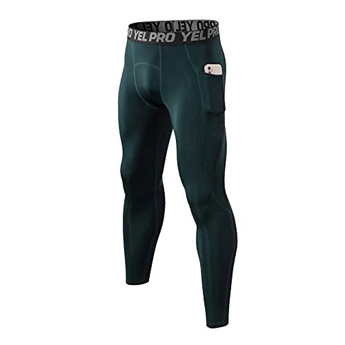 Pantalones de compresión para hombre con bolsillos para mallas de compresión, elásticos, para fitness, velvet bottoming, Verde militar., S