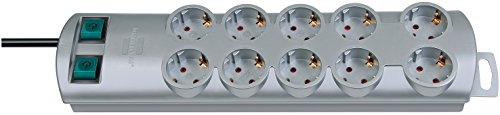 Brennenstuhl Primera-Line, Steckdosenleiste 10-fach (Steckerleiste mit 2 Schaltern für je 5 Steckdosen und 2m Kabel) silber