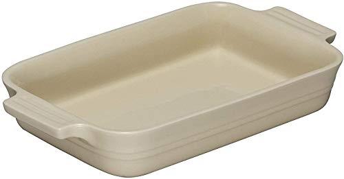 Le Creuset Bandeja rectangular, 17 x 26 cm, Para 4 porciones, Cerámica de gres, Cream
