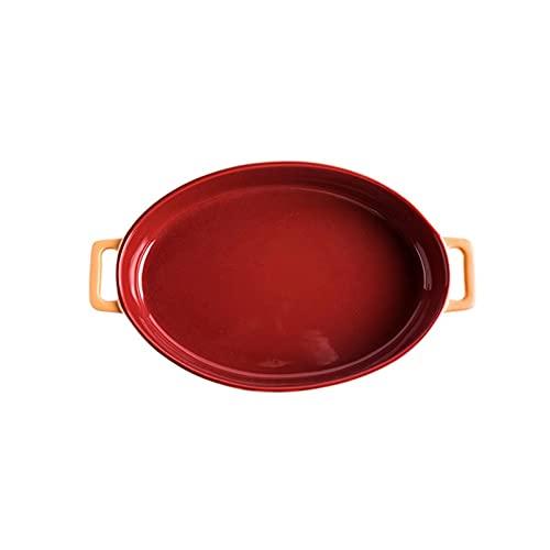 Hanpiyigtp Bandeja, Plato de Hornear binaural de cerámica, súper Grande para Hornear Rectangular sirviendo para cocinar, Cocina y Uso Diario