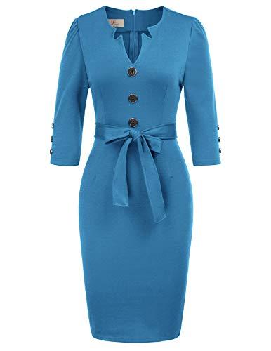 GRACE KARIN Women Retro 3/4 Sleeve Work Office Business Pencil Dress with Belt M Light Blue