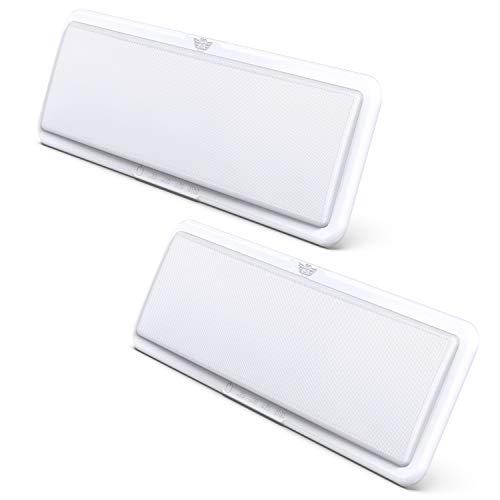 Leisure LED RV LED Ceiling Light Fixture 1450 Lumen with Touch Dimmer Switch Interior Lighting for Car/RV/Trailer/Camper/Boat DC 12V Natural White 4000-4500K (2-Pack)