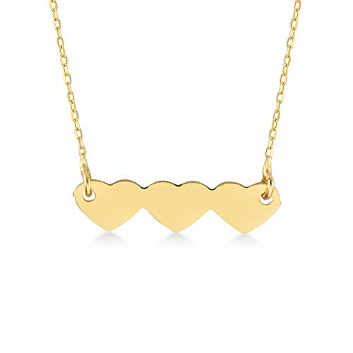 GELIN 14k Solid Gold Three (Triple) Heart Pendant Necklace | Dainty Necklace | Real Gold Necklaces for Women