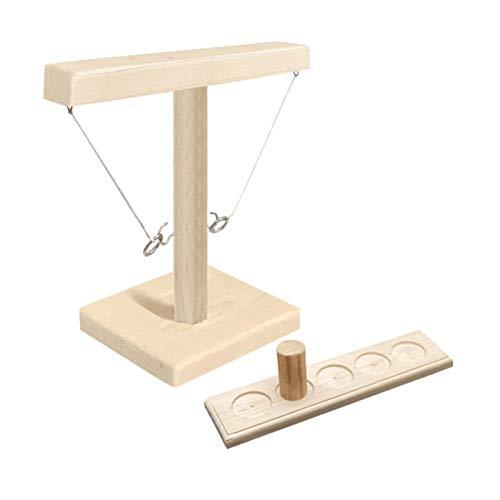 Ganci da lancio ad anello moderni e gioco ad anello Gioco da lancio ad anello Giocattolo con tavolo da gioco a scaletta e vetro in legno per giochi di società e famiglia Happy Time