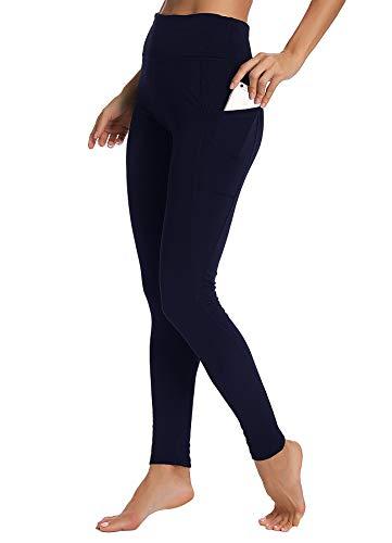INSTINNCT Damen Sport Hohe Taille Leggings mit Taschen Yogahose Sporthose Laufhose Training Tights Blau L