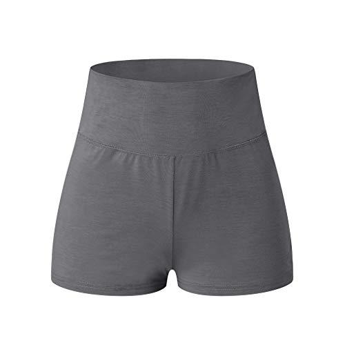Shorts Ulanda-EU Damen Teenager Mädchen Sommer Kurze Sporthose Yogahose Fitnesshose Fahrradshorts Hüften Falten Running Yoga Hose Casual Fit Elastische Taille