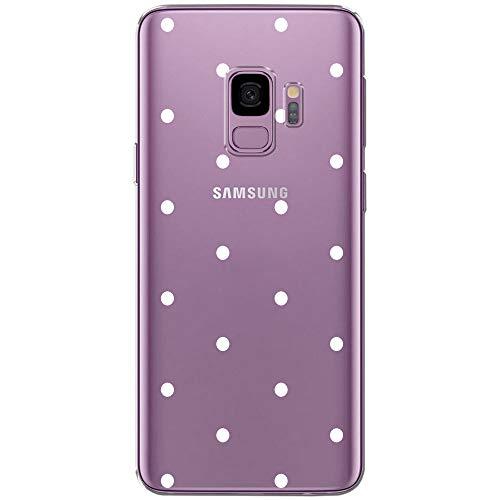 OOH!COLOR Custodia per Cellulare Custodia per Samsung Galaxy S9 Custodia in Silicone Custodia per Cellulare Custodia Trasparente Motiv Punti Bianchi
