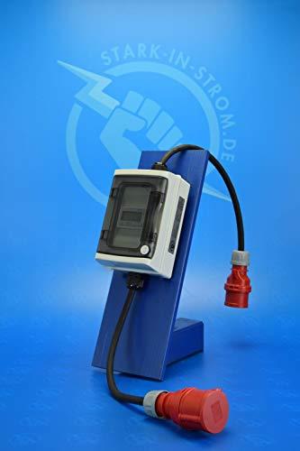Digital Stromzähler Adapter - Ungeeicht - 400V / 16A CEE-Stecker auf 16A CEE Kupplung/Wattmeter/Energiezähler/Zwischenzähler/MID-Adapter/Starkstromzähler IP65. Qualität -Made in Germany-