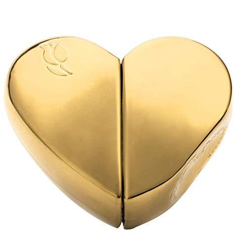 Lege fles met 25 ml parfum, aluminium container, hartvormige, navulbare draagbare reisotiecontainer met pompspray-verstuiver (goud)