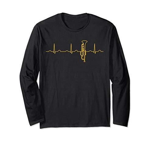 Lustige Heartbeat Perinet Trompetenbekleidung Jazz Trompeter Langarmshirt