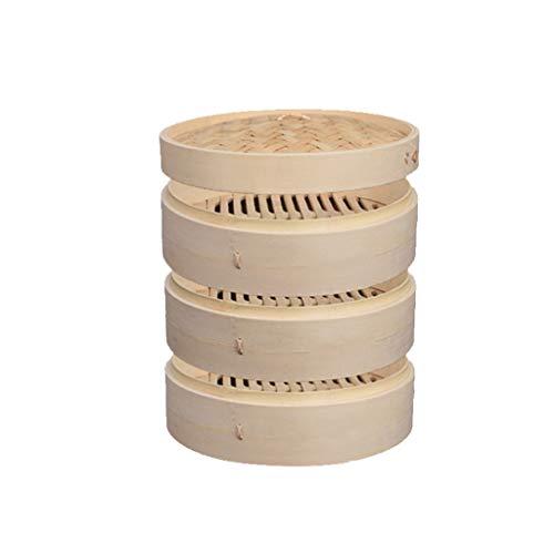 Natural Nan Bambus Dampfgarer Set, 1-3 Schichten, sehr gut geeignet für asiatische Küche,3+1,24cm/9.64inch