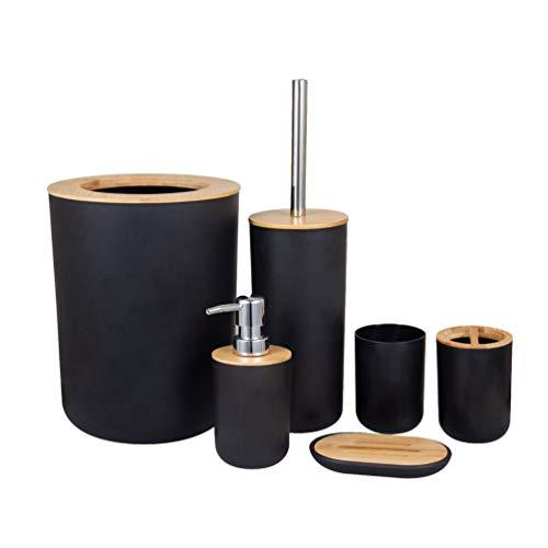 MisFox Juego de 6 Piezas Accesorios de Baño de Bambú con Dispensador de Jabón, Cubo de Basura, Vaso para Cepillo de Dientes, Soporte para Cepillo de Dientes, Jabonera y Escobilla para Inodoro - Negro