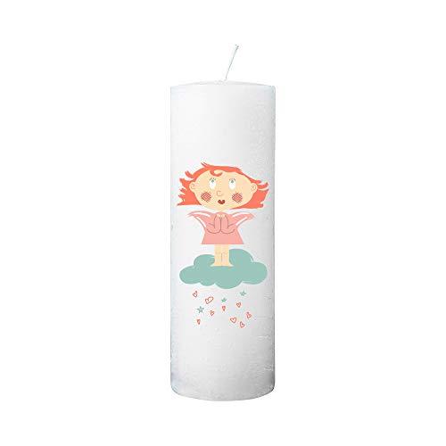 Kerzenhelden Taufkerze mit Namen und Datum Motiv Engel auf Wolke Mädchen Geschenk Taufe Rustic Weiß