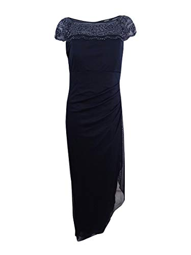 MSK Womens Beaded Ruched Evening Dress Navy 6