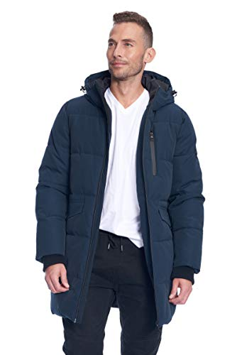 Alpine North Men's Vegan Down Winter Puffer Coat, Navy, Small